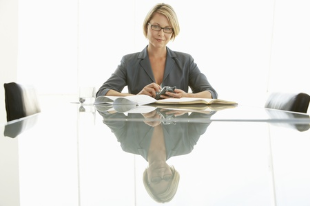 Businesswoman at conference table portrait Stock Photo - 18884426