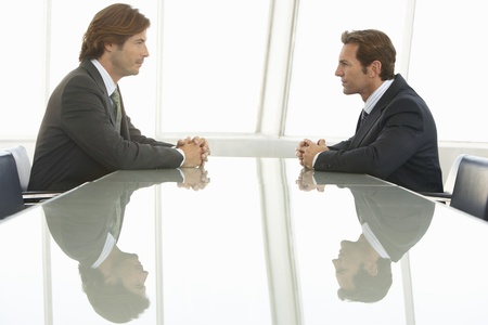 business roles: Two Businessmen in Meeting