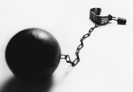Ball and chain (b&w) Stock Photo - 19075604