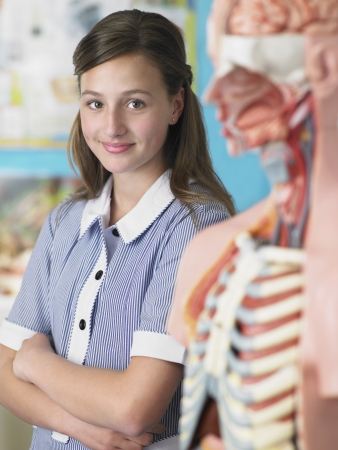 anatomical model: High School Student With Anatomical Model