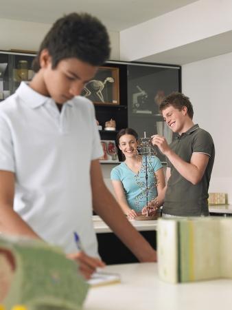 ethnic mixes: Teenagers in Science Class