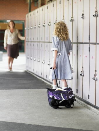 bookbag: School Girl Waiting For Her Mother