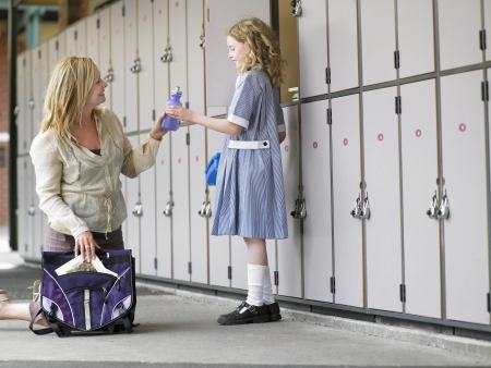 bookbag: Mother Picking Up Daughter From School