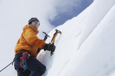 recreational climbing: Mountaineer Climbing Ice Wall
