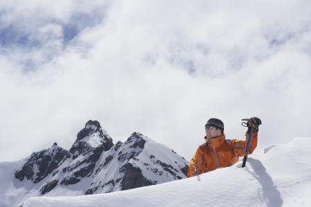 mountain climber: Alpinista venendo picco