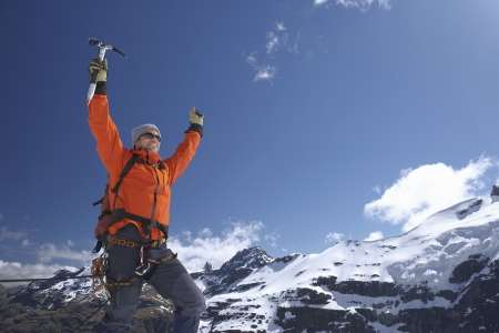 exhilarated: Excited Mountaineer