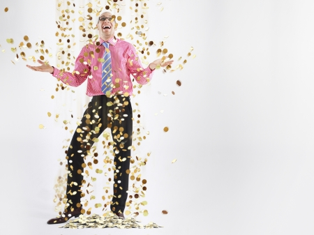lucky man: Businessman Being Showered in Money
