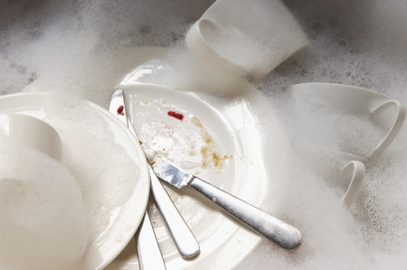 Stack of Dirty Dishes in Sink Stock Photo - 18886549
