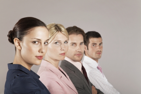 teammate: Businesswomen and Businessmen In a Line LANG_EVOIMAGES