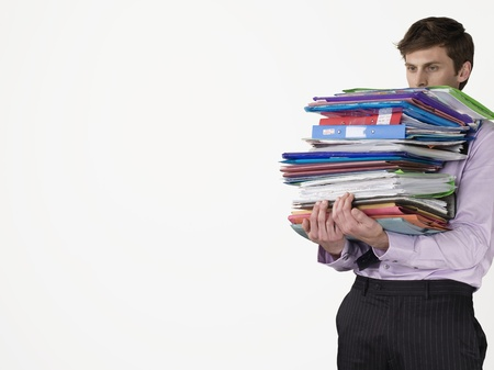 exerting: Office Worker with Stack of Files