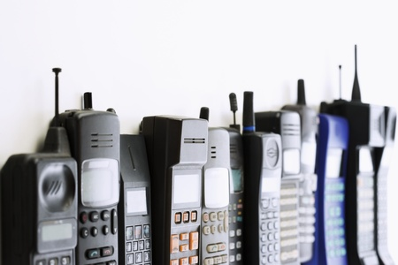 portable phone: Row of Cell Phones