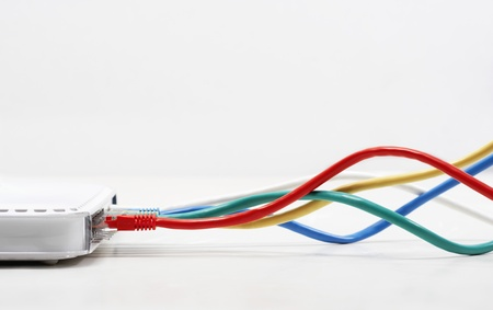 Ethernet Cables Plugged In Stock Photo - 18884771