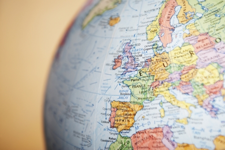 europe closeup: Europe on a Globe LANG_EVOIMAGES