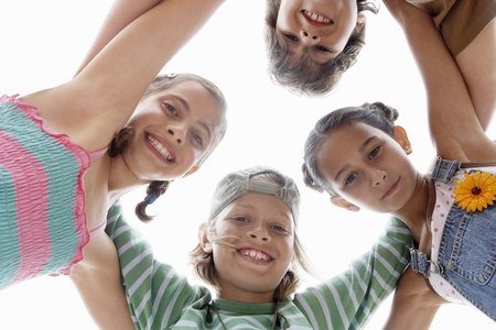 huddling: Children Huddling in a Circle