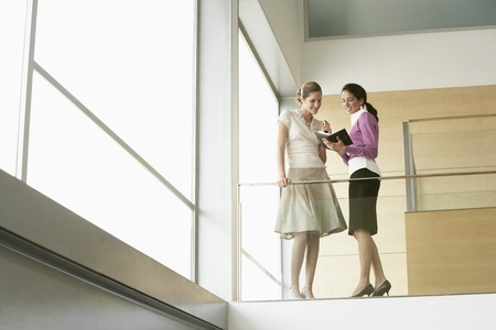 systematic: Businesswomen Conversing on Mezzanine LANG_EVOIMAGES