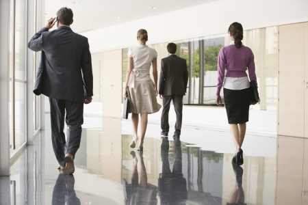 hooked up: Four Businesspeople Walking in Office Corridor