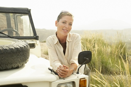 Woman and Land Rover