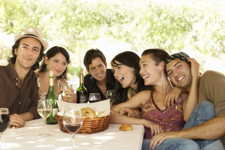 racially diverse: Friends Having Meal