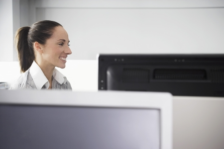 microcomputer: Office Worker Smiling