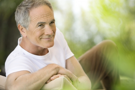 middle aged man: Older Man Relaxing