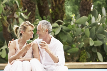 middle age: Couple Drinking Tea