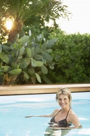 older woman: Older Woman in Swimming Pool