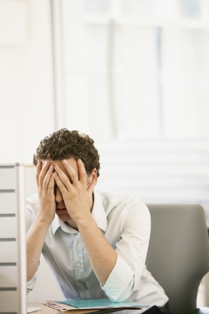 agitated: Office Worker Stressing Out