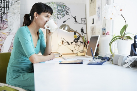 office equipment: Woman at Desk