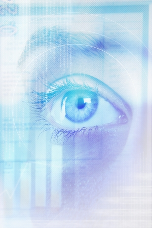 digital composite: Digital composite of female eye and abstract pattern