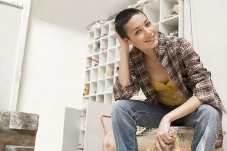 crewcut: Young Woman on Work Break