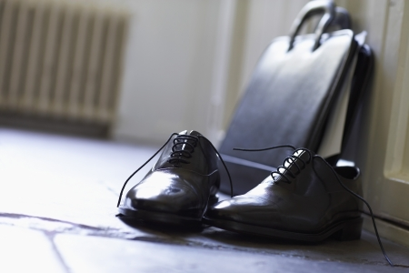 domesticity: Dress Shoes and Briefcase in Hallway LANG_EVOIMAGES