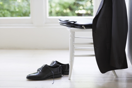 domesticity: Businessmans Clothing on Chair
