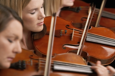 violins: Women Playing Violins in musical group close-up