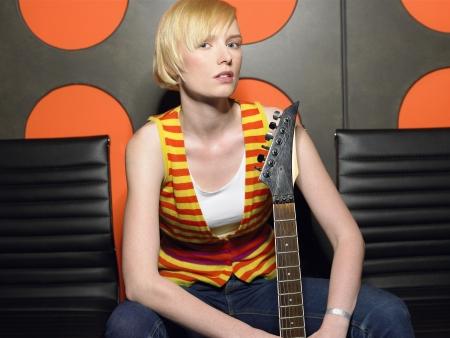 recording studio: Young Woman in Recording Studio