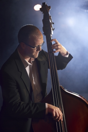 Man Playing Double Bass in Jazz Club Stock Photo - 18885383