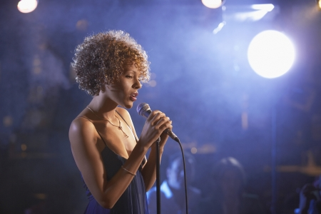 one person with others: Jazz Singer Performing in Club