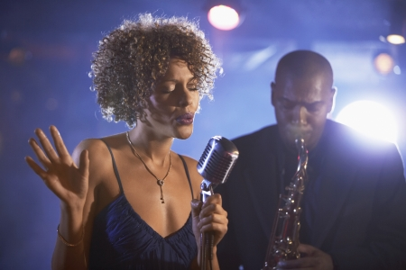 jazz music: Jazz Singer and Saxophonist Performing