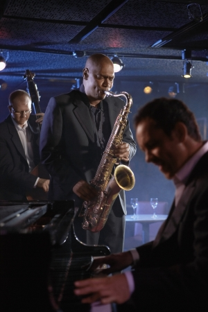 jazz band: Jazz Musicians Performing in Club