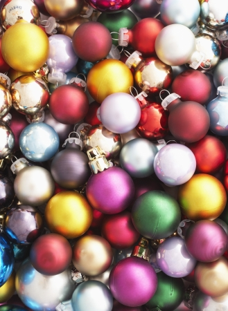 group of christmas baubles: Pile of Christmas baubles full frame