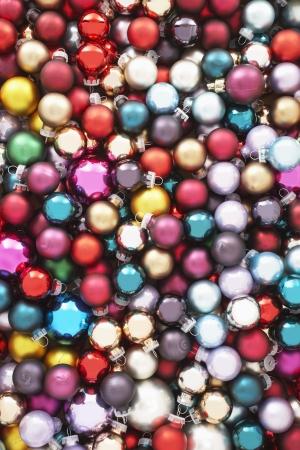 Pile of Christmas baubles full frame