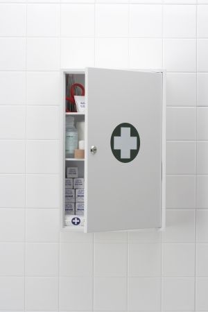 Medical cabinet on wall
