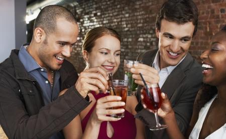 mingle: Couples Toasting at Bar