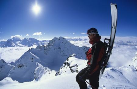 ski goggles: Skier looking at mountain view