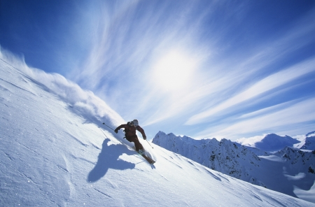 downhill skiing: Person skiing on mountain slope