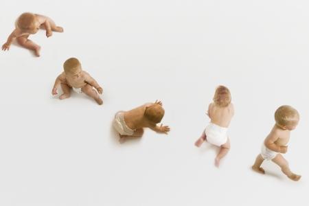 Babies Sitting, Crawling, and Walking