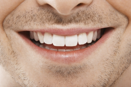 20s  closeup: Mans Mouth Smiling