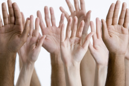 lifting hands: Raised Hands