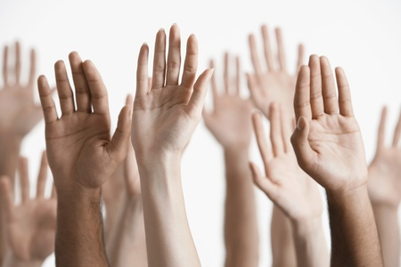 lifted hands: Raised Hands