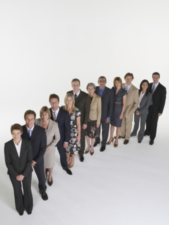 an overview: Group of Businesspeople Standing in Line