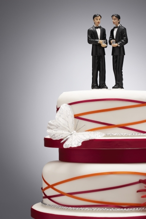 gay marriage: Groom Figurines on Wedding Cake LANG_EVOIMAGES
